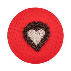 Heart shaped coffee beans and candies