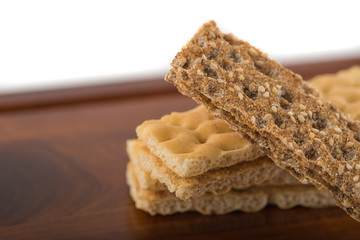 Brown and creamy crispbreads