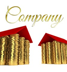 Real estates company, houses made ??of coins