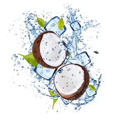 Ice coconuts on white background