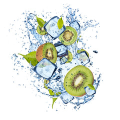 Ice kiwi on white background