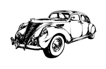 retro vintage car speed drawing art