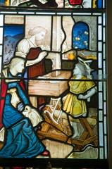 Stained glass - Joseph working as a Carpenter
