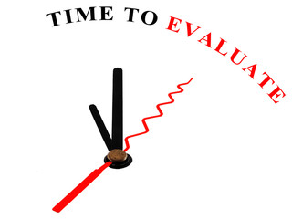 The words Time to Evaluate on an ornate white clock