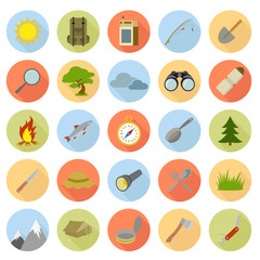Flat icons of camping