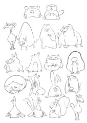 Black and White Cartoon Animals