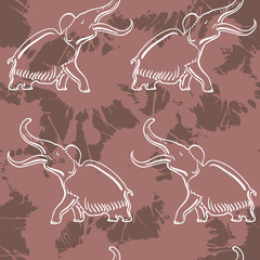 Seamless pattern with mammoth