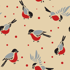 Bullfinches seamless pattern