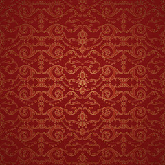 Vintage background, royal red damask ornament