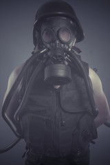 Soldier, Man with black gas mask, pollution
