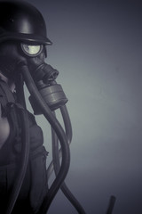 Protection, Man with black gas mask, pollution