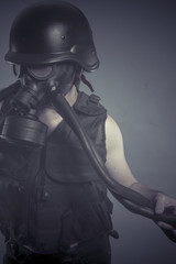 Nuclear, Man with black gas mask