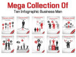 MEGA COLLECTION BUSINESS MAN MODERN INFOGRAPHIC RED