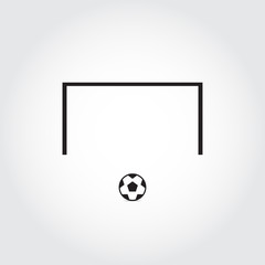 Soccer goal and soccer ball. Football. Vector