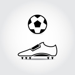 Soccer shoes and ball. Football. Vector