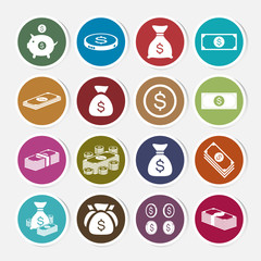 Money sticker icon set. Vector