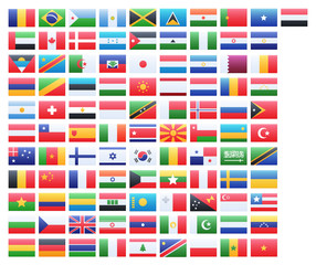 Flags vector of the world and world map on white background