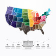 United states Map Infographic Template geometric concept banner.