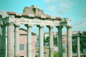 Roman Forum in Rome. Cross processing color tone.