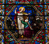 Jesus and Mary Magdalene in stained glass poster