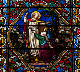 Jesus and Mary Magdalene in stained glass