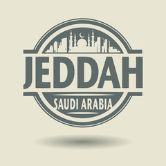 Stamp or label with text Jeddah, Saudi Arabia inside