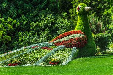 Vogel aus vielen Blumen auf  Blumeninsel Mainau