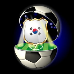 Open soccer ball with crest of SOUTH KOREA
