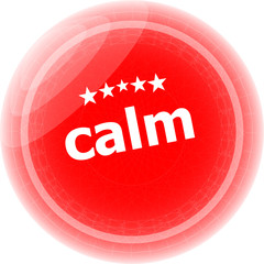calm word stickers red button, web icon button