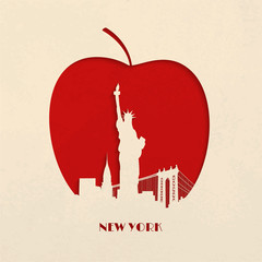 Cut-out silhouette of Big Apple New York