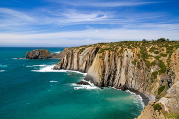 Steep cliffs on the shore of Portugal