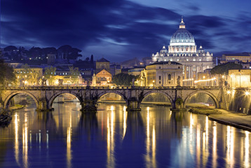 Night image of St. Peter's Basilica, Ponte Sant Angelo and Tiber