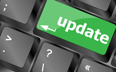 computer keyboard keys with update word
