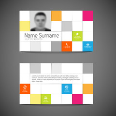 Modern mosaic business card template with flat user interface