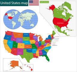 Colorful USA map