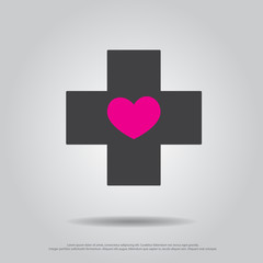 heart in cross vector