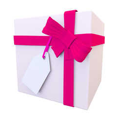 3d view of a pale pink present and bright bow