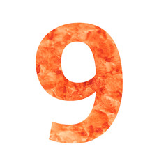 9 number with texura shaped brown earth or stone