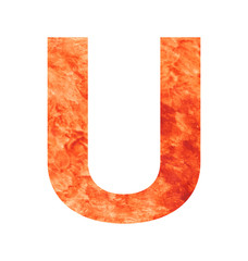 u letter with texura shaped brown earth or stone