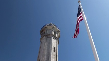 Alcatraz Island Federal Penitentiary. Lighthouse & US Flag.