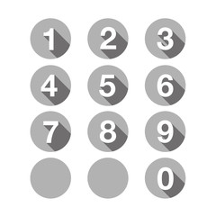 Numbers set grey. Vector flat design