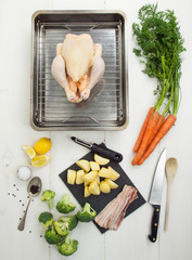 ingredients for roast chicken dinner