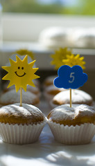 Funny and stylish decoration cupcakes to children's birthday