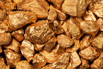Golden nuggets closeup.