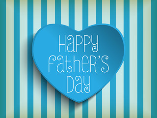 Happy Fathers Day Blue Heart Background