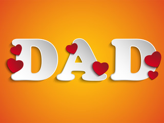 Happy Fathers Day with Heart Background