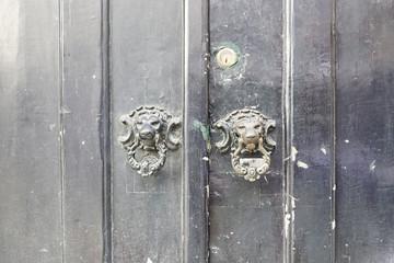 Wooden door with metal callers