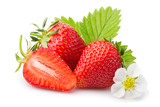 Fototapety Strawberries with leaves and blossom. Isolated on a white