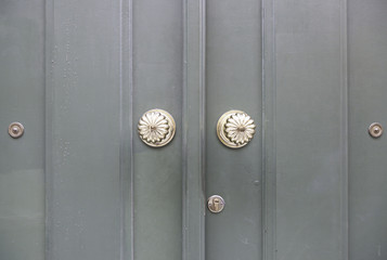 Wooden door with metal knockers