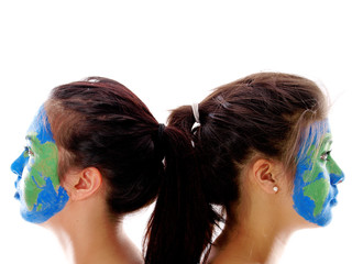 world map painted on girls' faces